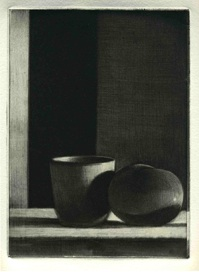 Etching entitled Cup and Tomato